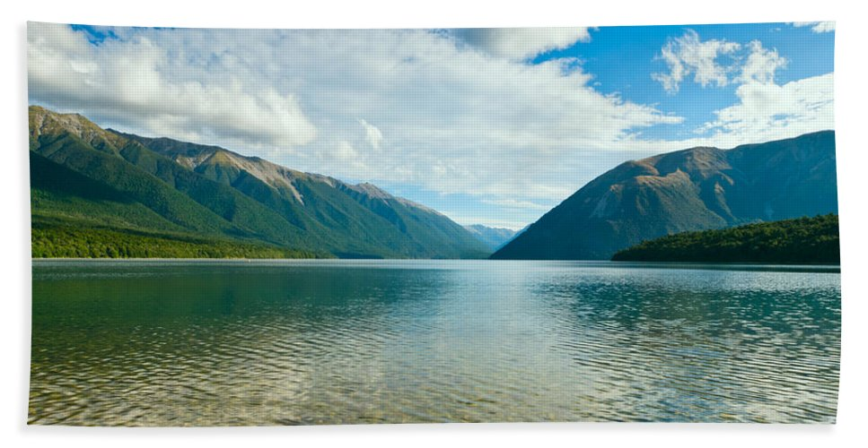Amazing Bath Sheet featuring the photograph View Above A Beautiful Lake During Mid Day by U Schade
