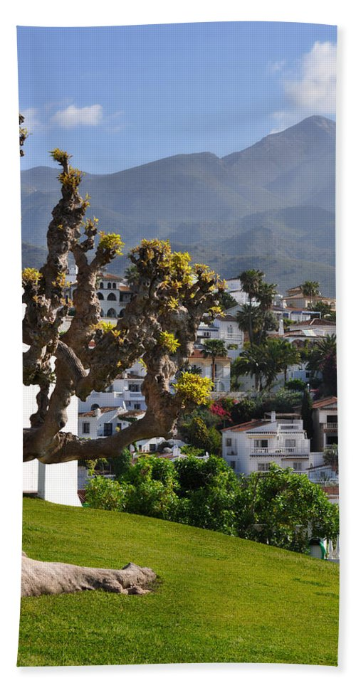View From The Parador Nerja Bath Sheet featuring the photograph View From The Parador Nerja by Mary Machare