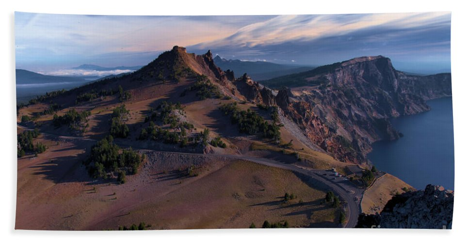 Crater Lake National Park Hand Towel featuring the photograph View From The Watchman by Adam Jewell