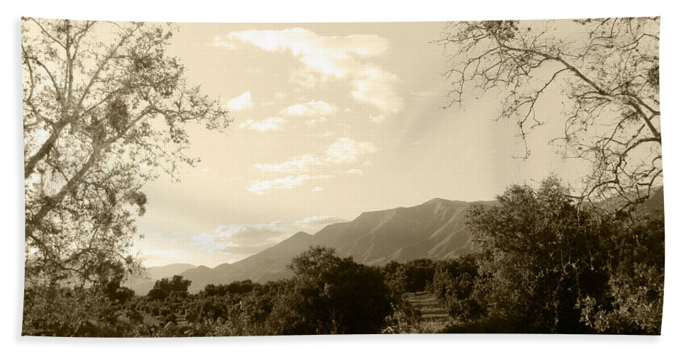 Ojai Hand Towel featuring the photograph View In The Valley by Kathleen Grace