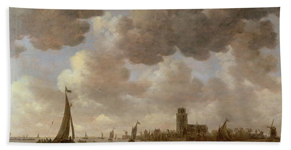 Cathedral; Landscape; Church; Windmill; Boats; Canal; River; Cloud Bath Sheet featuring the painting View Of Dordrecht Downstream From The Grote Kerk by Jan Josephsz van Goyen