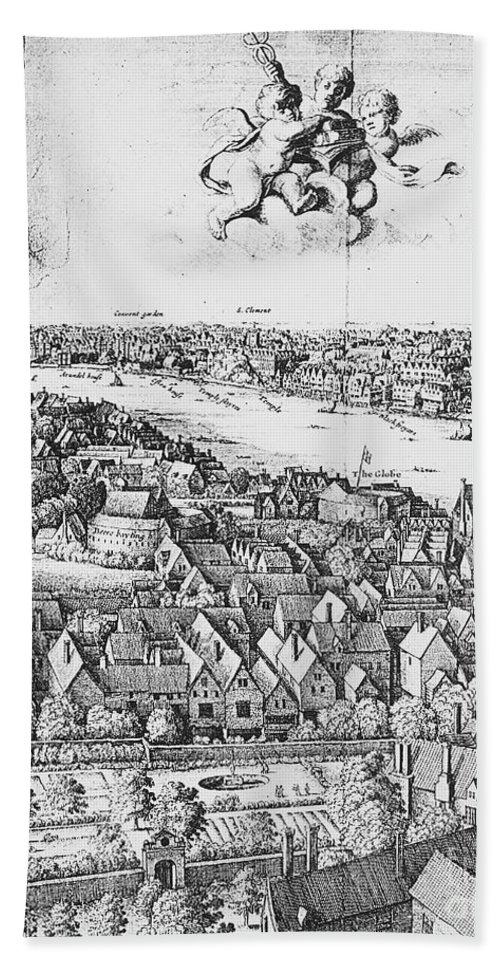 1647 Bath Sheet featuring the photograph View Of London, 1647 by Granger