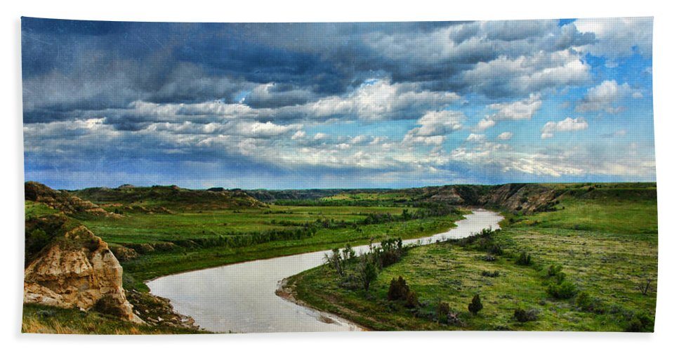 River Bath Sheet featuring the photograph View Of River With Storm Clouds by Jill Battaglia