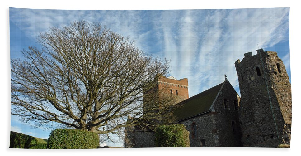 Tree Bath Sheet featuring the photograph View Of St Mary Church And Clouds In Dover Castle by Ashish Agarwal