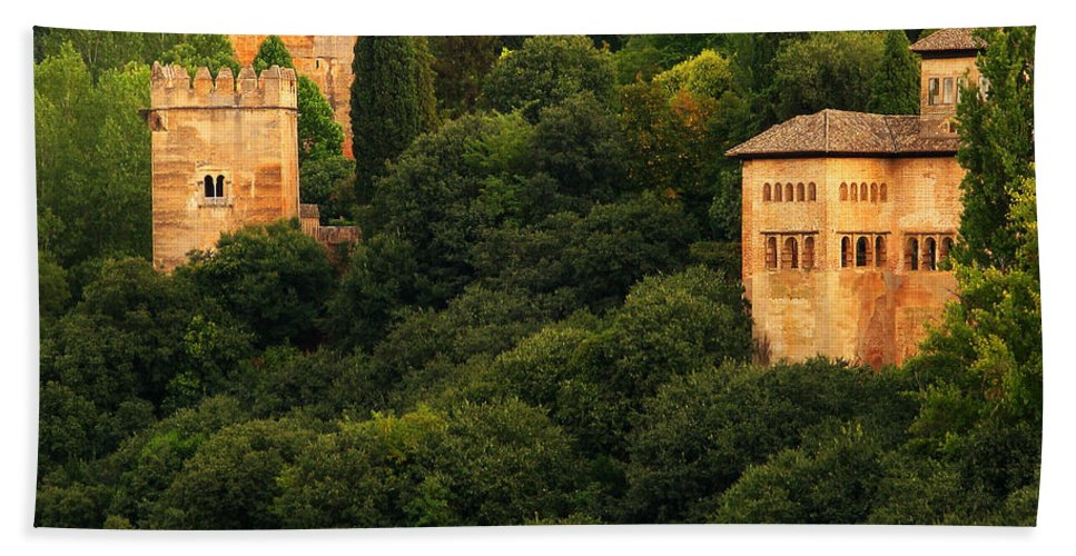 Alhambra Bath Sheet featuring the photograph View Of The Alhambra In Spain by Greg Matchick