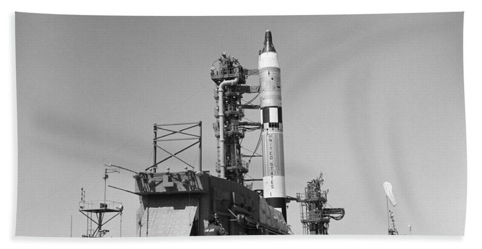 1965 Bath Sheet featuring the photograph View Of The Gemini-titan 3 by Stocktrek Images