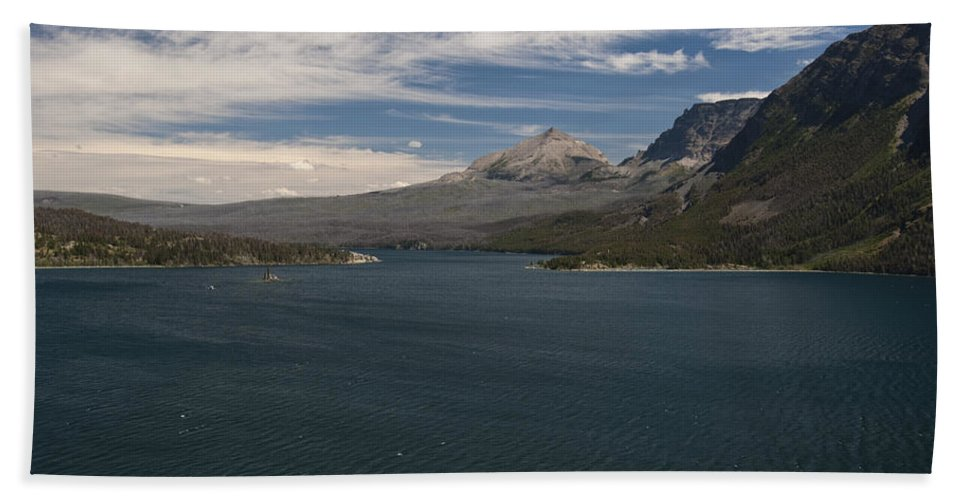 Wild Goose Isl. Saint Mary Lake Glacier National Park Usa North America Mountain Water Blue Sky Clouds Landscape Bath Sheet featuring the photograph View Of Wild Goose Isl. by Paul Cannon
