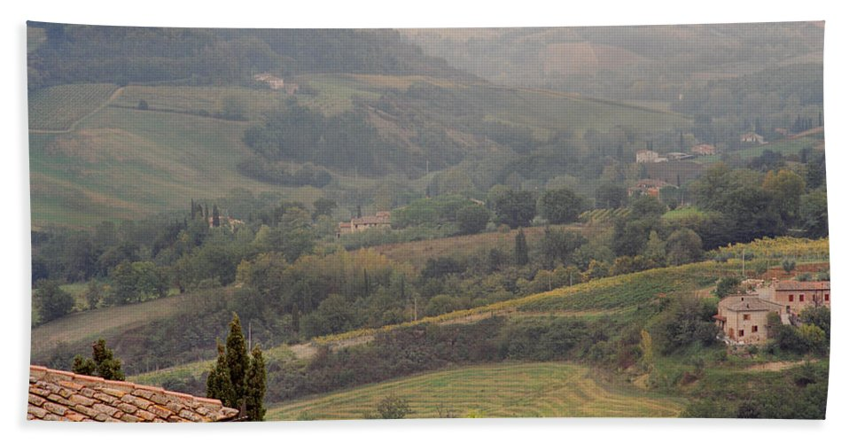 San Gimignano Hand Towel featuring the photograph View Over The Tuscan Hills From San Gimignano Italy by Greg Matchick