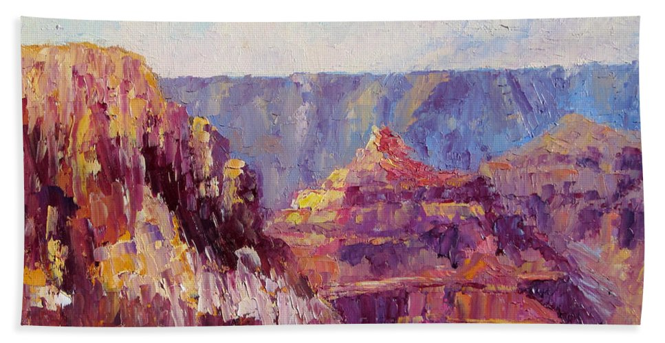 Grand Canyon Bath Sheet featuring the painting Village View by Terry Chacon