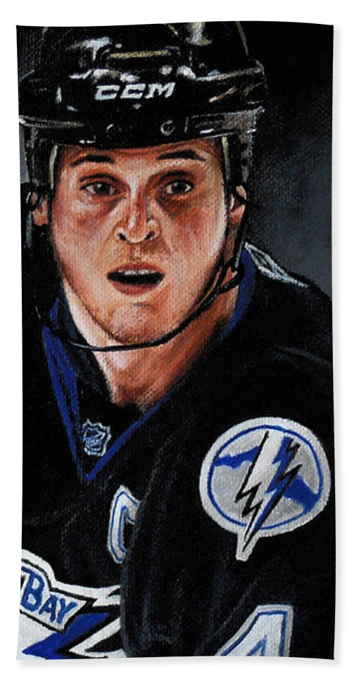 Nhl Bath Sheet featuring the painting Vinny Lecavalier by Marlon Huynh