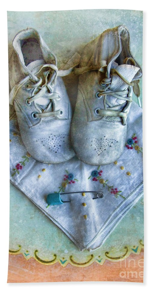 Shoes Bath Sheet featuring the photograph Vintage Baby Shoes And Diaper Pin On Handkercheif by Jill Battaglia