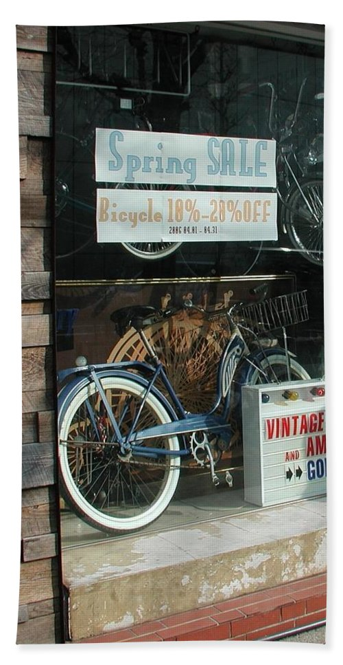 Vintage Bicycle And American Junk Godspeed Hand Towel featuring the photograph Vintage Bicycle And American Junk by Anna Ruzsan