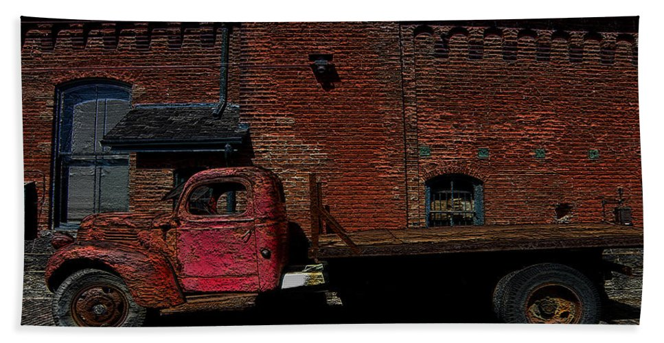Vintage Truck Bath Sheet featuring the photograph Vintage Distillery Truck by Andrew Fare