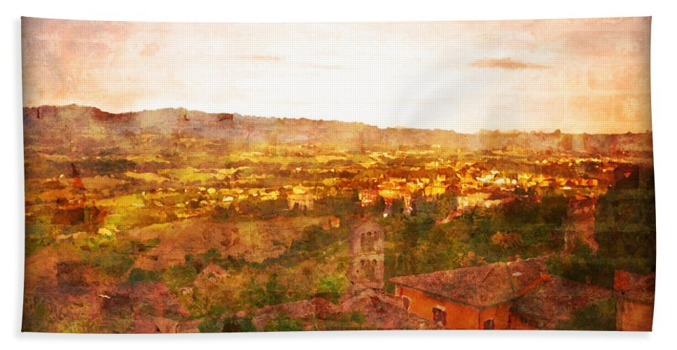 Something Different Italian Landscape Hand Towel featuring the photograph Vintage Landscape Florence Italy by Femina Photo Art By Maggie