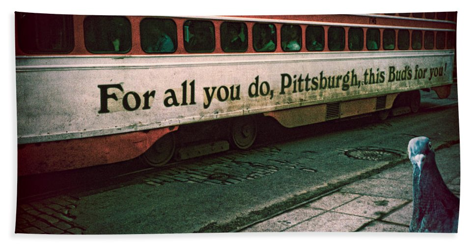 Pigeon Hand Towel featuring the photograph Vintage Pittsburgh Trolly by Chris Lord