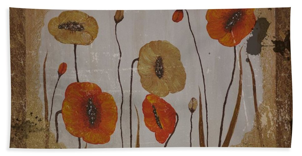 Red Poppies Hand Towel featuring the painting Vintage Red Poppies Painting by Georgeta Blanaru