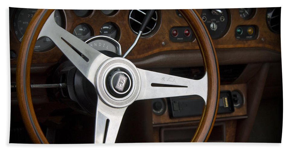 Vintage Hand Towel featuring the photograph Vintage Rolls Royce Dash by Robin Lewis