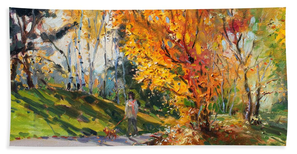 Landscape Hand Towel featuring the painting Viola In A Nice Autumn Day by Ylli Haruni