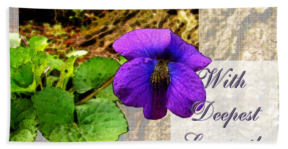 Nature Bath Sheet featuring the digital art Violet Greeting Card Sympathy by Debbie Portwood