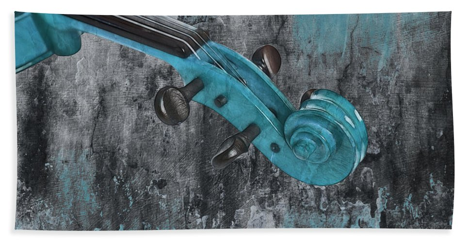 Violin Hand Towel featuring the photograph Violinelle - Turquoise 04d2 by Variance Collections