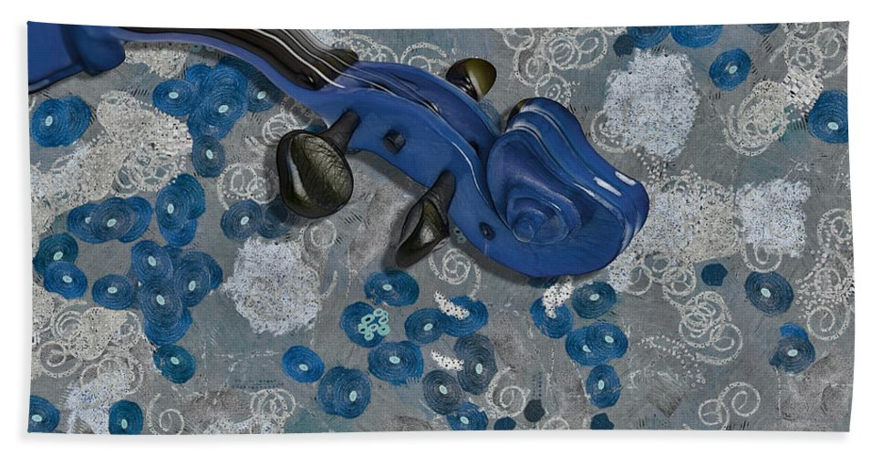 Violin Hand Towel featuring the digital art Violinelle - V02-09a by Variance Collections