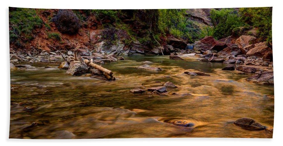 Zion Hand Towel featuring the photograph Virgin River Zion by Jonathan Davison