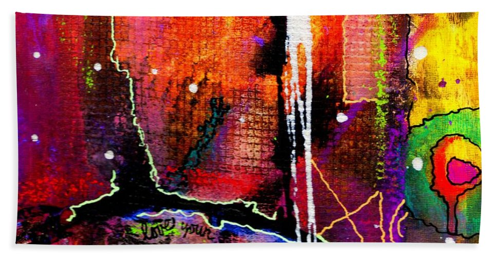 Greeting Cards Bath Sheet featuring the mixed media Vitality by Angela L Walker