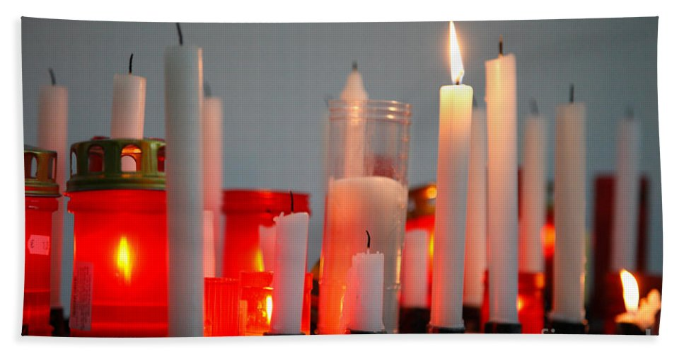 Candles Bath Sheet featuring the photograph Votive Candles by Gaspar Avila