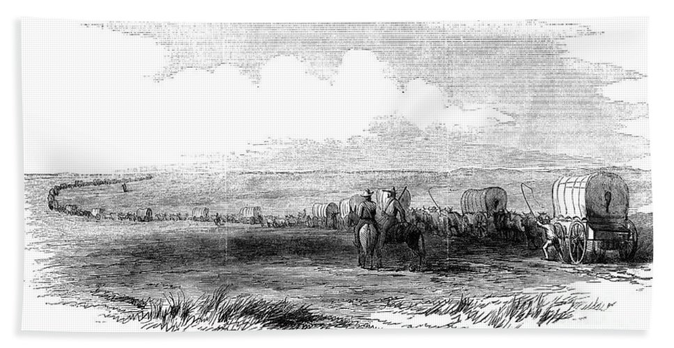 1859 Bath Sheet featuring the photograph Wagon Train, 1859. For Licensing Requests Visit Granger.com by Granger