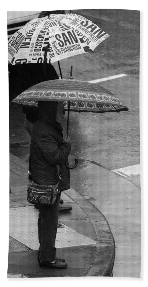 San Francisco Hand Towel featuring the photograph Waiting In The Rain by Aidan Moran