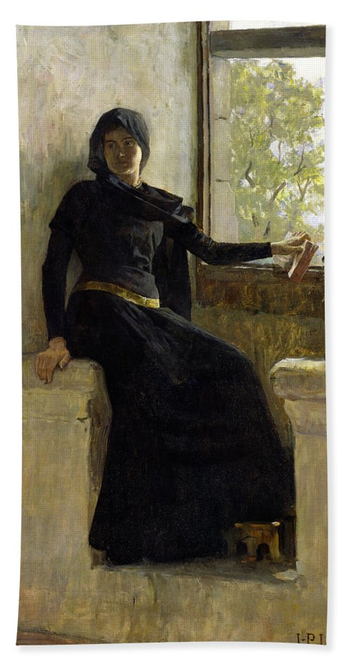Female; Window; Seated; Black Dress; Medieval Costume; Portrait; Siege Hand Towel featuring the painting Waiting by Jean Pierre Laurens