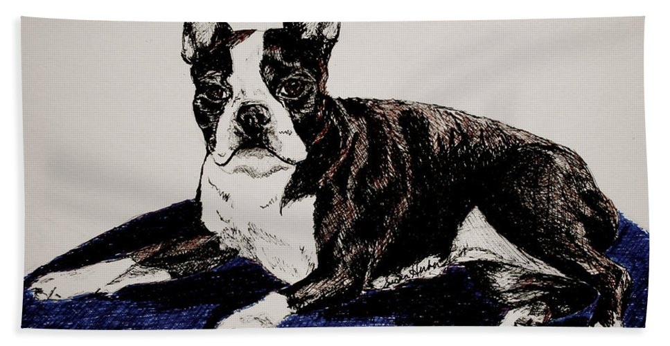 Canine Hand Towel featuring the drawing Wake Up by Susan Herber