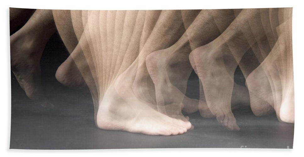 Stroboscopic Hand Towel featuring the photograph Walking by Ted Kinsman