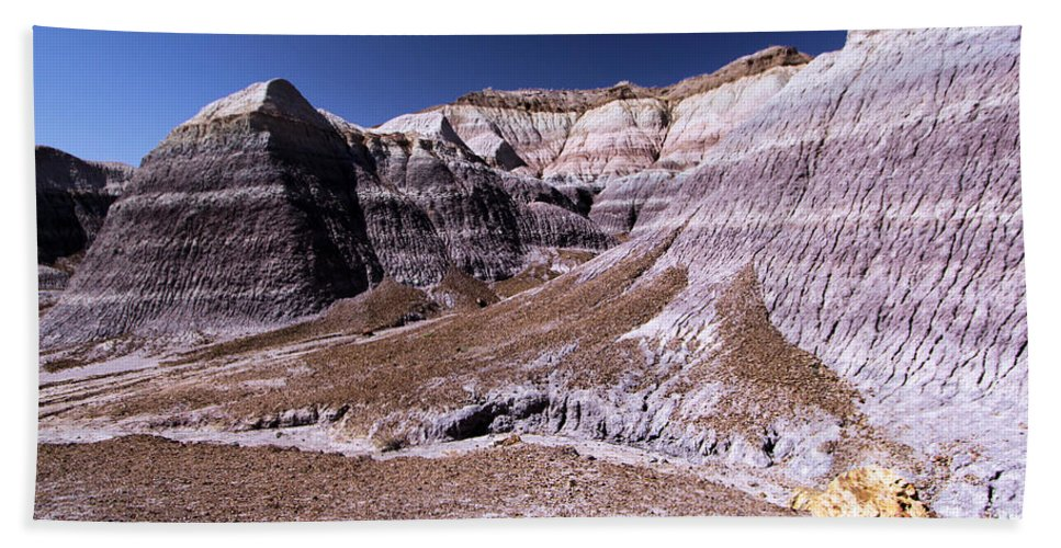 Petrified Forest National Park Bath Sheet featuring the photograph Wall Of Purple by Adam Jewell