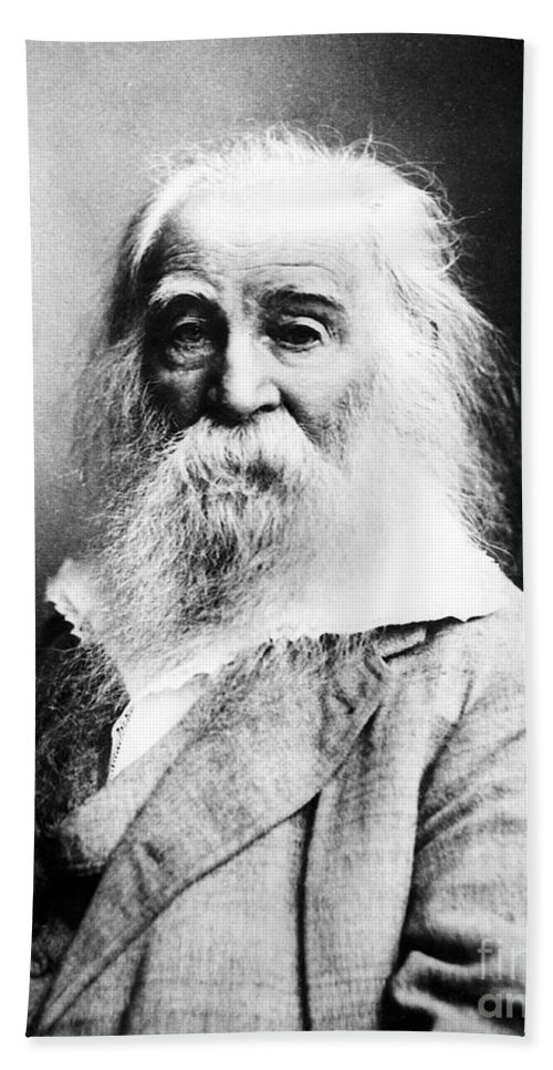 History Hand Towel featuring the photograph Walt Whitman, American Poet by Sylvia Beach Collection, Princeton