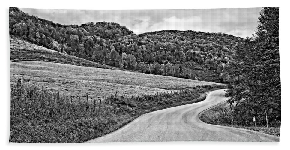 West Virginia Bath Sheet featuring the photograph Wandering In West Virginia Monochrome by Steve Harrington
