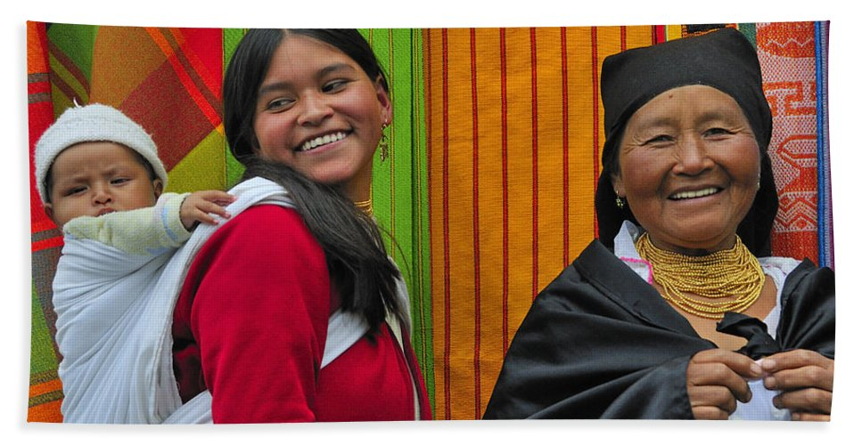 Otavalo Bath Sheet featuring the photograph Wandering Through The Market by Tony Beck