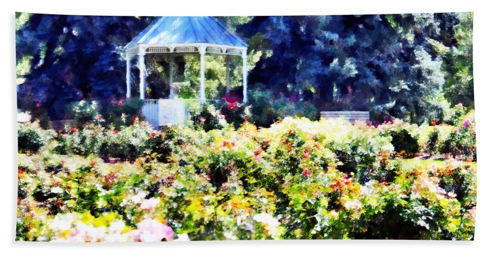 War Bath Sheet featuring the mixed media War Memorial Rose Garden 3 by Angelina Vick