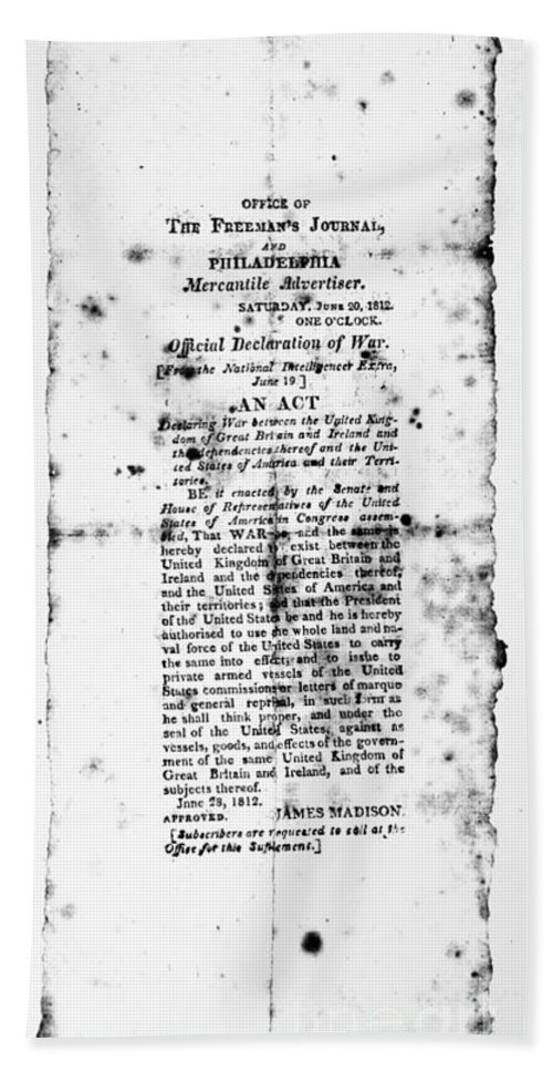 1812 Hand Towel featuring the photograph War Of 1812: Broadside by Granger