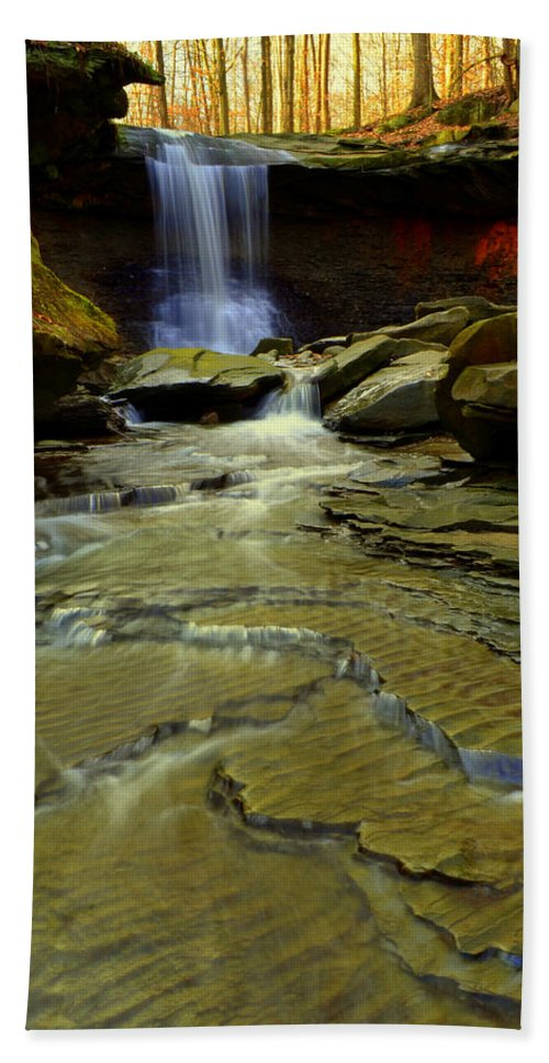 Waterfall Bath Sheet featuring the photograph Warm Sky Cool Water by Frozen in Time Fine Art Photography