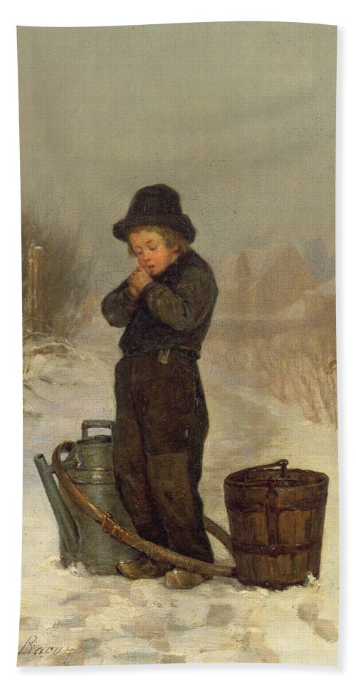 Child; Boy; Male; Snow; Cold; Snowy; Frozen; Buckets; Bucket; Pail; Pails; Winter; Landscape; Victorian; Collecting Water Bath Sheet featuring the painting Warming His Hands by Henry Bacon
