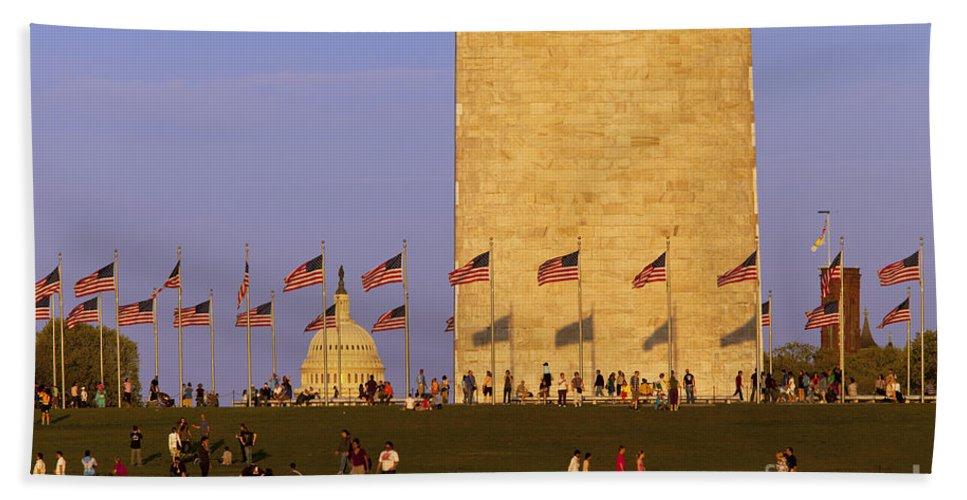 Washington Monument Hand Towel featuring the photograph Washington Dc Sunset by Brian Jannsen