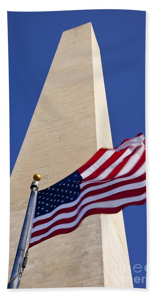 American Flag Hand Towel featuring the photograph Washington Monument Flag by Brian Jannsen