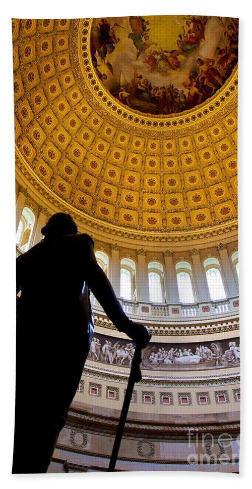 Capitol Hand Towel featuring the photograph Washington Under Capitol Dome by Brian Jannsen