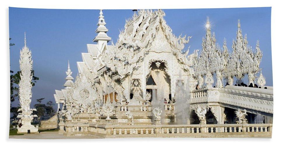 Wat Rong Khun Bath Sheet featuring the photograph Wat Rong Khun by Sally Weigand