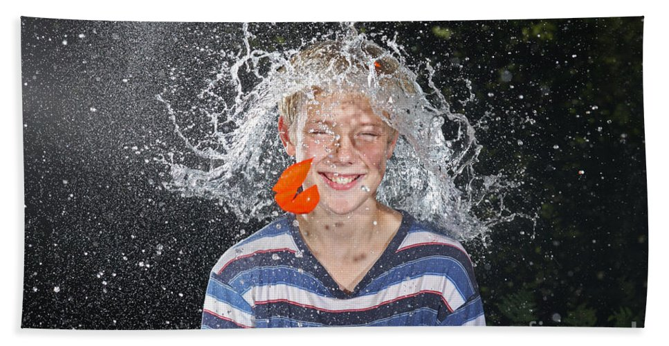 Water Balloon Hand Towel featuring the photograph Water Balloon Popped Above Boys Head by Ted Kinsman