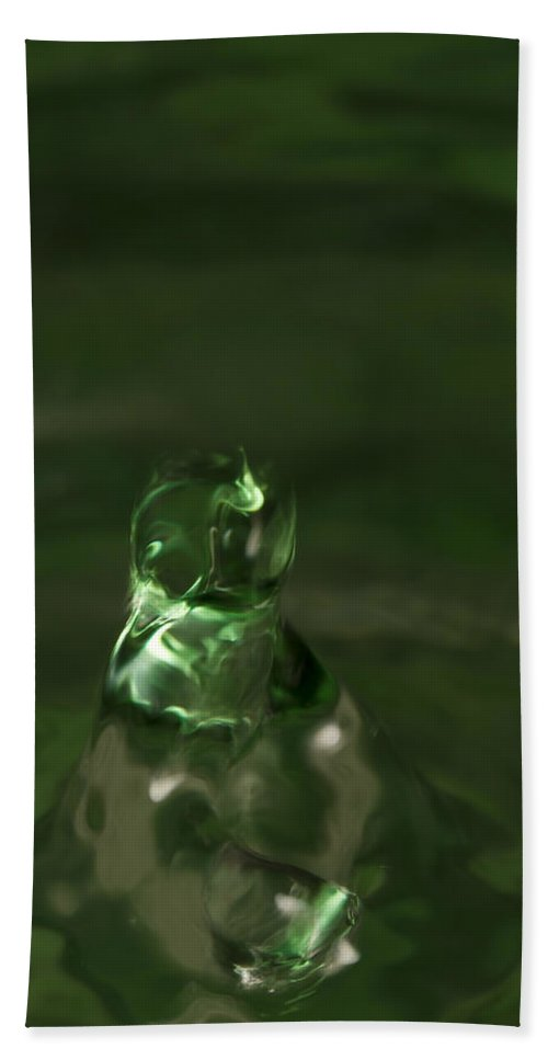 Abstract Bath Sheet featuring the photograph Water Drop Abstract Green 17 by John Brueske