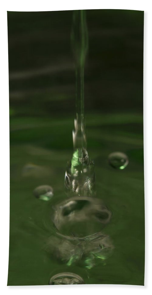 Abstract Bath Sheet featuring the photograph Water Drop Abstract Green 24 by John Brueske