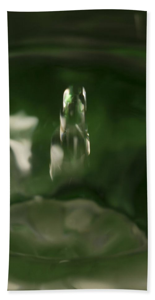 Abstract Bath Sheet featuring the photograph Water Drop Abstract Green 27 by John Brueske