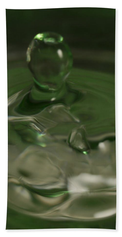 Abstract Bath Sheet featuring the photograph Water Drop Abstract Green 28 by John Brueske